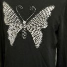 Lucia Burns Size L Sweater Beads Sequins Butterfly Stretchy Black Career Bling