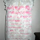 ELLE Floral Top Size L Pink Roses Gray Beige Blouse Ruffled Cap Sleeve New NWOT
