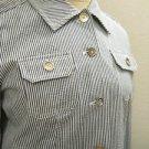 Jones New York Pant Suit Size 2P Striped Seersucker Sturdy Cotton Fabric New NWT