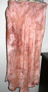 Citron Santa Monica Silk Skirt XL Salmon Pink Phoenix Bird Crane Ankle Long New