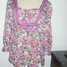 Ann Taylor LOFT Size M Blouse Purple Green Floral Career Top New with Store Tags