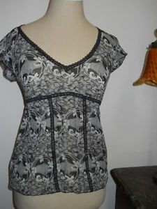 The Limited Silk Top Size XS Extra Small Sheer Black Taupe Floral New Side Zip