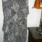 Ralph Lauren Silk Skirt Size M Black White Floral A Line Excellent Career Used