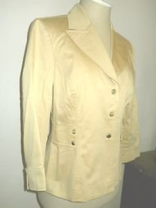 Tahari Larry Levine Blazer Size 8P Jacket Petite Golden Beige Snap Buttons New