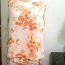 Laura Scott Skirt Suit M Floral Peach Apricot Flower 2 Piece Tank New w/out Tags