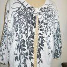 Deane & White PXL Sweater Cardigan White Gray Flowers Leaves Long Sleeve New
