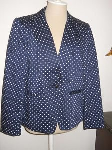 Cynthia Rowley Blazer XL Designer Navy Blue White Polka Dots Career New No Tag