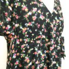 Tessuto Italy Dress L Navy Blue Pink Yellow Floral Short Sleeves Excellent Used