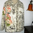 Chico's Size 2 Jacket Floral Thick Cotton Denim Fabric Orange Green Beige Beaded