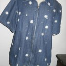 Quacker Factory Jean Pant Suit Size L Daisy Embroidery Zip Front Top New NWOT