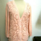 Apt 9 Cardigan Size M Medium Apricot Battenberg Lace Panels Excellent Used EUC
