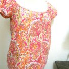 Ann Taylor LOFT Size XS Blouse Orange Pink Floral Paisley Top Excellent Used