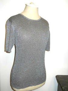 Taupe Silver Lurex Sweater M Medium Silk Blend Rib Knit Top Short Slvs New NWOT