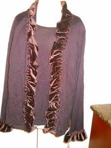 Elementz XL Deep Brown Sweater Mock Twin Set Velvet Accents Gorgeous New w Tags