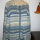 Tiara Cardigan XL Blue White Career Zip Front Nordic Pattern Jacket Soft New