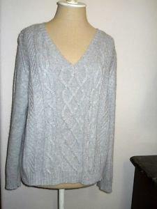 St. John's Bay Petite XL PXL Sweater Gray Silver Metallic Career Cotton Angora
