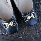 "Ellen Tracy Size 9.5 Women Shoes Genuine Leather Pumps Black Gold Chain 2"" Heels"