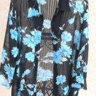 Notations Shirt 2X Sheer Floral Polyester 3/4 Long Ruffled Sleeves Top New NWOT