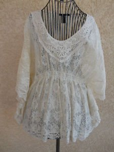 Size XL Lace Blouse Ivory Floral Cotton Polyester Gorgeous New Never Worn NWOT