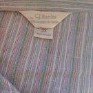CJ Banks 3X Shirt Cotton Green Pink White Striped Long Sleeves New