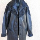 Genuine Leather Coat Size Small S Black Jacket Button Front Floral Print New