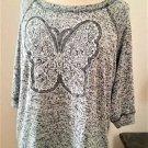 Bobeaau 1X Top Stretch Soft Knit Shirt Butterfly Cream Lace Short Sleeve EUC