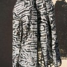 CHICO's Size 1 Shirt Top Black Brown White Semi Sheer Long Sleeves New NWOT