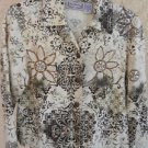 Size M Cotton Jacket Summer Sequins Embroidered Cream Brown Long Sleeves New