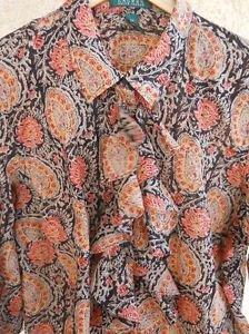Lauren Ralph Lauren Shirt 2X Plus Size Ruffle Front 3/4 Long Sleeve Thin New Top