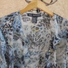 Mlle Gabrielle 2X Shirt Ruffled Blue Black Long Sleeves Top New With Store Tags