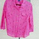 Karen Scott Shirt XL Pink Dragonflies Polka Dots Career Cotton 3/4 Sleeves New