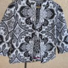CHICO's Size 0 Small S Jacket Blazer Medium Weight Floral Black White New NWOT