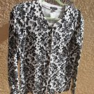 George Size S 4 6 Cardigan Sweater Career White Black Floral Soft Knit New
