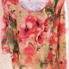 JM Collection 2X Floral Blouse Knit Top Plus Size Career Orange New 3/4 Slvs