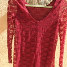 Socialite Size S Lace Blouse Career Top Burgundy Stretchy Long Sleeves New