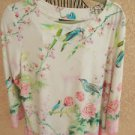 Investments XL Blouse Stretch Knit Birds Floral Top White Pink Green Aqua Top