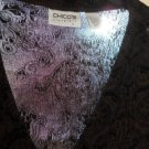 CHICO'S Travelers Size 1 Shirt Top Brown With Black Velvet Print Excellent Used