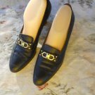 Salvatore Ferragamo Shoes 10 AAA BlackCalf Leather 3A  Gold Gancini Loafers EUC