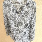 Susan Graver Style 1X Blouse Black White Silver Metallic Top Long Slve New NWOT