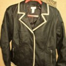 CHICOS 2 Faux Leather Coat Size Small S Black Jacket Button Front Used EUC