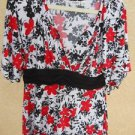 CATO Size Large L Top Black White Red Floral Bell Sleeve Blouse NWOT New