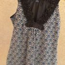 Max Edition Size M Blue White Black Floral Career Blouse Polyester Lined New