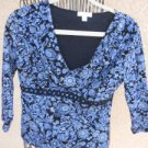 Charter Club Size S Top Bue White Black Floral Long Sleeve Blouse Excellent Used