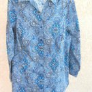 Size 14 16 Shirt Teal Blue White Long Sleeves Top Career Apparel Gorgeous New