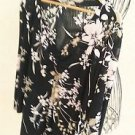 Size 1X Floral Stretchy Top V Neck Plus Career 3/4 Sleeve Blouse Excellent Used