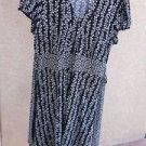 Apt 9 Sun Dress L Short Sleeves Black White Tie Backs Polyester New NWOT