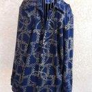 Diane Gilman 1X DG2 Shirt Long Sleeves Top Dark Denim Blue Gold Chain New NWOT