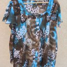 Serenade 2X Shirt Harmonica Pleated Bell Sleeves Geometric Print Top New W/o Tag