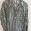 Roaman's 2X 3X Woman Plus Size Shirt Brown Green Black Multi Striped Top NWOT