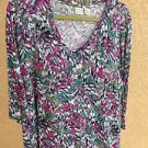 Lucie & Laurel 1X Plus Size Pink Black Green White Stretchy Blouse 3/4 Sleeves
